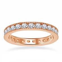 18K Rose Gold Diamond Eternity Ring Having Milgrain Border (1.15 - 1.35 cttw) | B2C Jewels