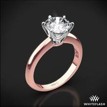 18k Rose Gold Elegant Solitaire Engagement Ring with White Gold Head | Whiteflash