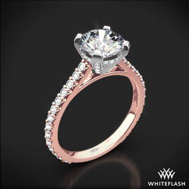 18k Rose Gold Elena Diamond Engagement Ring with White Gold Head