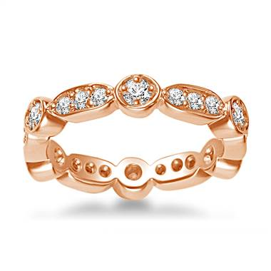 18K Rose Gold Eternity Ring Having Round Diamonds In Prong Setting (0.57 - 0.67 cttw.)