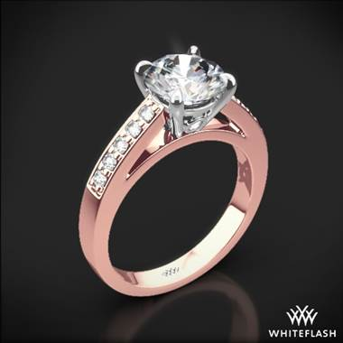 18k Rose Gold Flush-Fit Diamond Engagement Ring with White Gold Head