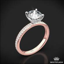 18k Rose Gold Legato Micro Pave Diamond Engagement Ring with White Gold Head | Whiteflash