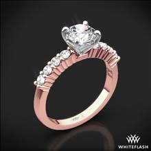 18k Rose Gold Legato Shared-Prong Diamond Engagement Ring with White Gold Head | Whiteflash