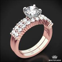 18k Rose Gold Legato Shared Prong Diamond Wedding Set | Whiteflash