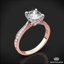 18k Rose Gold Legato Sleek Line Pave Diamond Engagement Ring with White Gold Head | Whiteflash