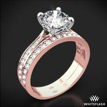 18k Rose Gold Legato Sleek Line Pave Diamond Wedding Set | Whiteflash