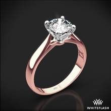 18k Rose Gold Legato Sleek Line Solitaire Engagement Ring with White Gold Head | Whiteflash