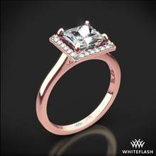 18k Rose Gold Princess Halo Solitaire Engagement Ring | Whiteflash