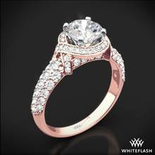 18k Rose Gold Ribbon Halo Diamond Engagement Ring with White Gold Head | Whiteflash