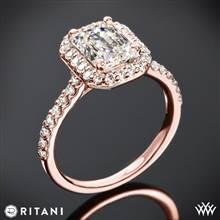 18k Rose Gold Ritani 1EMZ1323 French-Set Halo Diamond Engagement Ring for Emerald | Whiteflash