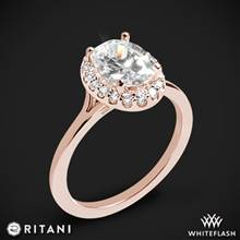 18k Rose Gold Ritani 1OZ1332 Halo Solitaire Engagement Ring | Whiteflash