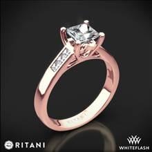 18k Rose Gold Ritani 1PCZ1193 Channel-Set Diamond Engagement Ring for Princess | Whiteflash