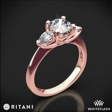 18k Rose Gold Ritani 1RZ1010P Three Stone Engagement Ring with Pear-Cut Diamonds | Whiteflash