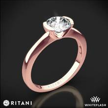 18k Rose Gold Ritani 1RZ1065 Semi Bezel-Set Solitaire Engagement Ring | Whiteflash
