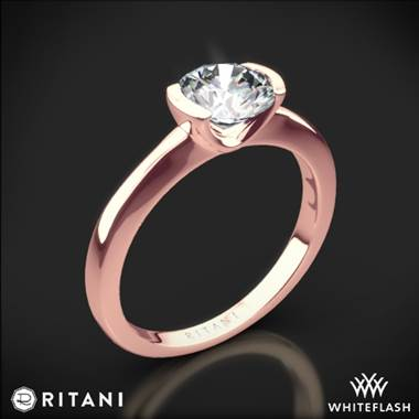 18k Rose Gold Ritani 1RZ1065 Semi Bezel-Set Solitaire Engagement Ring