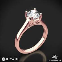 18k Rose Gold Ritani 1RZ1178 Diamond Tulip Cathedral Solitaire Engagement Ring | Whiteflash
