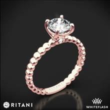 18k Rose Gold Ritani 1RZ1325 Surprise Diamond Beaded Solitaire Engagement Ring | Whiteflash
