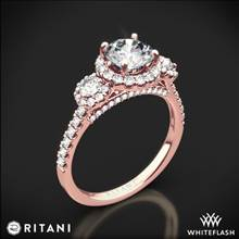 18k Rose Gold Ritani 1RZ1326 Halo Three Stone Engagement Ring | Whiteflash