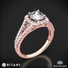 18k Rose Gold Ritani 1RZ1327 Cushion Halo 'V' Diamond Engagement Ring | Whiteflash