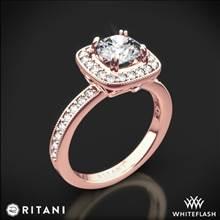 18k Rose Gold Ritani 1RZ1698 Vintage Cushion Halo Diamond Engagement Ring | Whiteflash