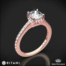 18k Rose Gold Ritani 1RZ1966 Micropave Diamond Engagement Ring | Whiteflash