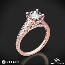 18k Rose Gold Ritani 1RZ2378 Tapered Pave Diamond Engagement Ring | Whiteflash
