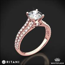 18k Rose Gold Ritani 1RZ2488 Double French-Set 'V' Diamond Engagement Ring | Whiteflash