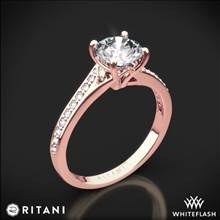 18k Rose Gold Ritani 1RZ2490 Modern Bypass Micropave Diamond Engagement Ring | Whiteflash