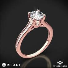 18k Rose Gold Ritani 1RZ2493 Micropave Diamond Engagement Ring | Whiteflash