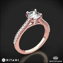 18k Rose Gold Ritani 1RZ2498 French-Set Diamond Engagement Ring | Whiteflash