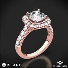 18k Rose Gold Ritani 1RZ2817 Masterwork Cushion Halo Diamond Engagement Ring   Whiteflash