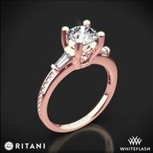 18k Rose Gold Ritani 1RZ3051 Tapered Baguette Three Stone Engagement Ring | Whiteflash