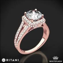 18k Rose Gold Ritani 1RZ3152 Masterwork Cushion Halo 'V' Diamond Engagement Ring | Whiteflash