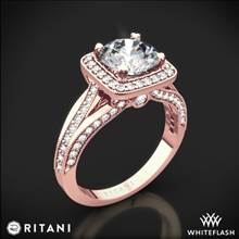 18k Rose Gold Ritani 1RZ3154 Masterwork Cushion Halo Vaulted Milgrain Diamond Engagement Ring | Whiteflash