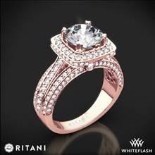 18k Rose Gold Ritani 1RZ3156 Masterwork Cushion Halo Triple Diamond Engagement Ring   Whiteflash