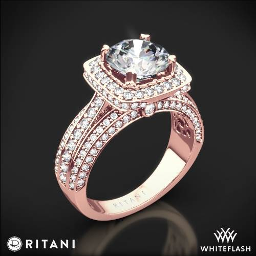 18k Rose Gold Ritani 1RZ3156 Masterwork Cushion Halo Triple Diamond Engagement Ring