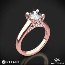 18k Rose Gold Ritani 1RZ3245 Pave Tulip Solitaire Engagement Ring | Whiteflash