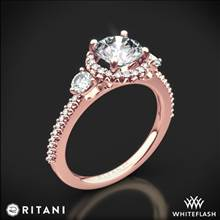 18k Rose Gold Ritani 1RZ3701 Halo Three Stone Engagement Ring | Whiteflash
