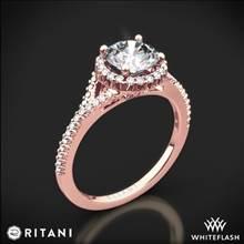 18k Rose Gold Ritani 1RZ3766 French-Set Halo Diamond 'V' Diamond Engagement Ring | Whiteflash