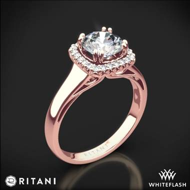 18k Rose Gold Ritani 1RZ3780 Cushion French-Set Halo Solitaire Engagement Ring