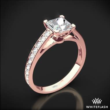 18k Rose Gold Serendipity Diamond Engagement Ring for Princess
