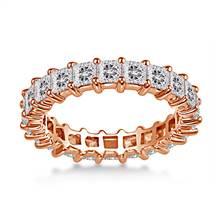 18K Rose Gold Shared Prong Princess Diamond Eternity Ring (3.23 - 3.91 cttw.) | B2C Jewels
