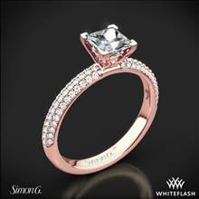 18k Rose Gold Simon G. LP1935-D Delicate Diamond Engagement Ring for Princess | Whiteflash