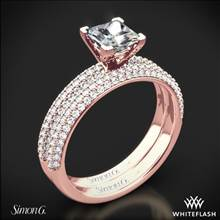 18k Rose Gold Simon G. LP1935-D Delicate Diamond Wedding Set for Princess | Whiteflash