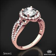 18k Rose Gold Simon G. LP2027 Passion Halo Diamond Engagement Ring | Whiteflash