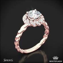 18k Rose Gold Simon G. LR1133 Classic Romance Halo Diamond Engagement Ring | Whiteflash