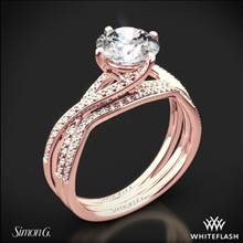 18k Rose Gold Simon G. MR1394 Fabled Diamond Wedding Set | Whiteflash