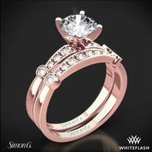 18k Rose Gold Simon G. MR1546-D Delicate Diamond Wedding Set | Whiteflash