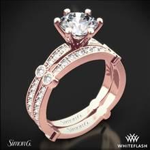 18k Rose Gold Simon G. MR1546 Delicate Diamond Wedding Set | Whiteflash