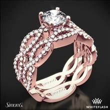 18k Rose Gold Simon G. MR1596 Fabled Diamond Wedding Set | Whiteflash
